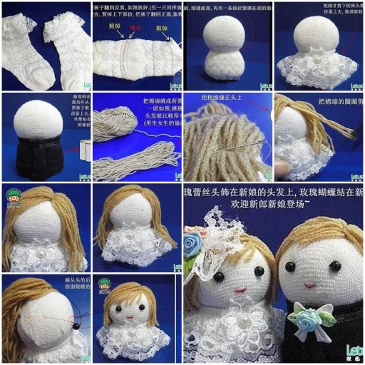 How to make Sock Groom and Bride Wedding Dolls DIY tutorial instructions thumb