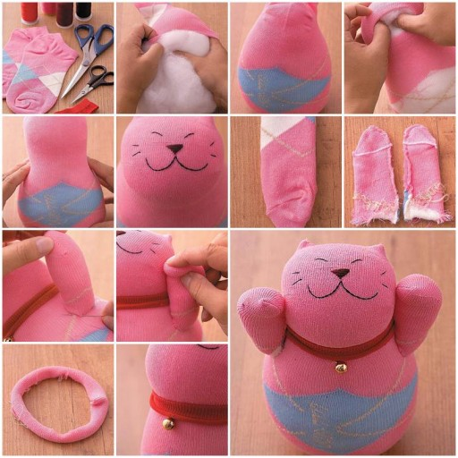 How to make Sock Lucky Cat Doll DIY tutorial instructions thumb