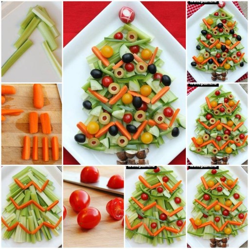 How to make Vegetable Christmas Tree Snack step by step DIY tutorial instructions thumb