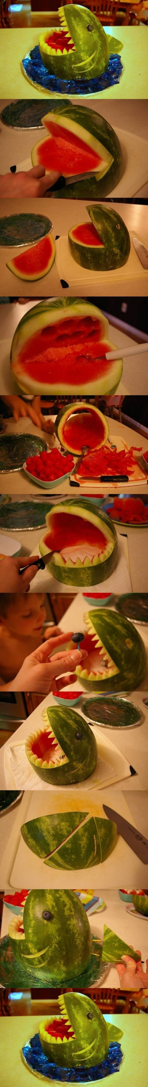 How to make Watermelon Shark Carving DIY tutorial instructions