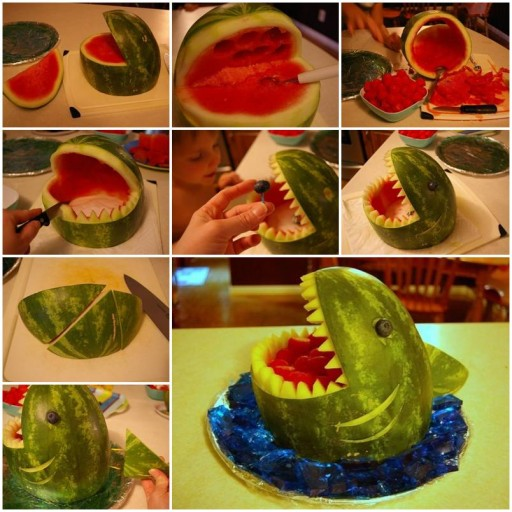 How to make Watermelon Shark Carving DIY tutorial instructions thumb