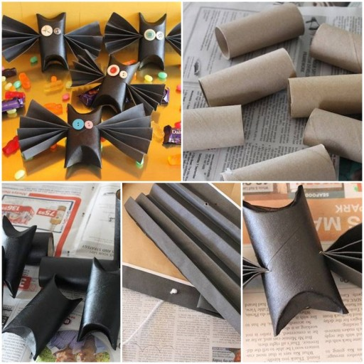 How to make bats with Toilet paper rolls Tutorial DIY tutorial instructions thumb