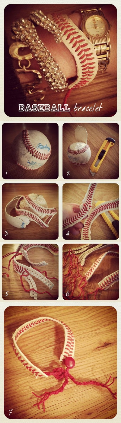 How to make beautiful Bracelets  with baseball step by step DIY tutorial instructions