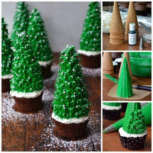 How to make beautiful Christmas tree cup cakes step by step DIY tutorial instructions