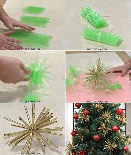 How to make beautiful Christmas tree ornament decorations with straws step by step DIY tutorial instructions