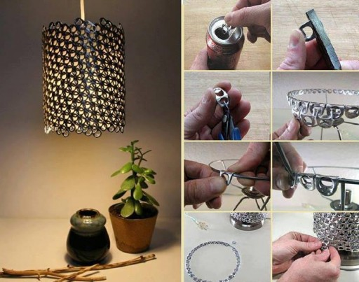 How to make beautiful lighting fixture with recycled cans step by step DIY tutorial instructions