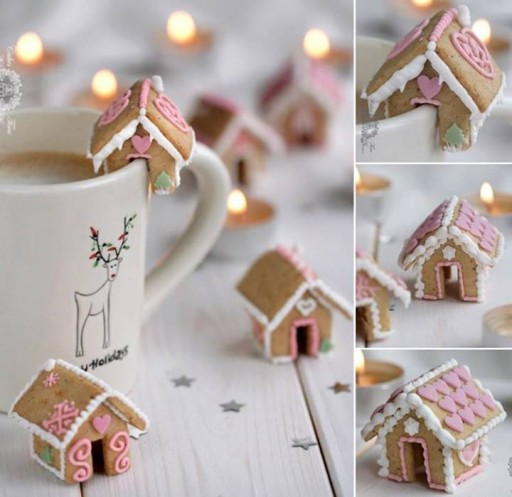 How to make cute mini gingerbread house cookies step by step DIY tutorial instructions