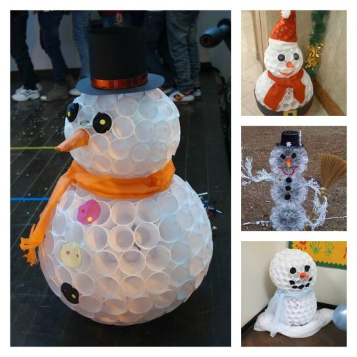 How to make cute snowman with recycled plastic cups step by step DIY tutorial instructions