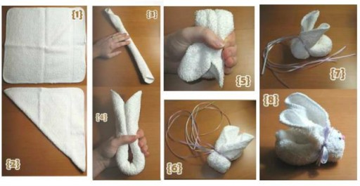 How to make cute towel bunny step by step DIY tutorial instructions