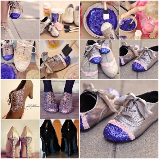 How to make nice Glitter Shoes step by step DIY tutorial instructions thumb