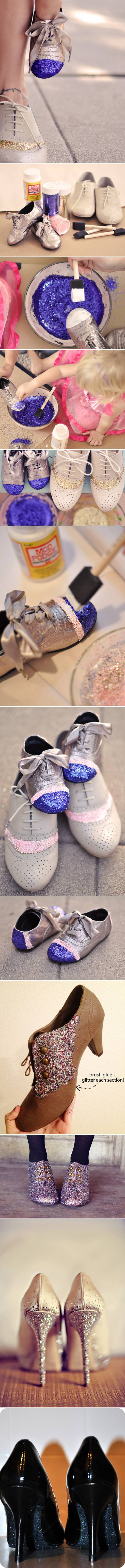 How to make nice Glitter Shoes step by step DIY tutorial instructions