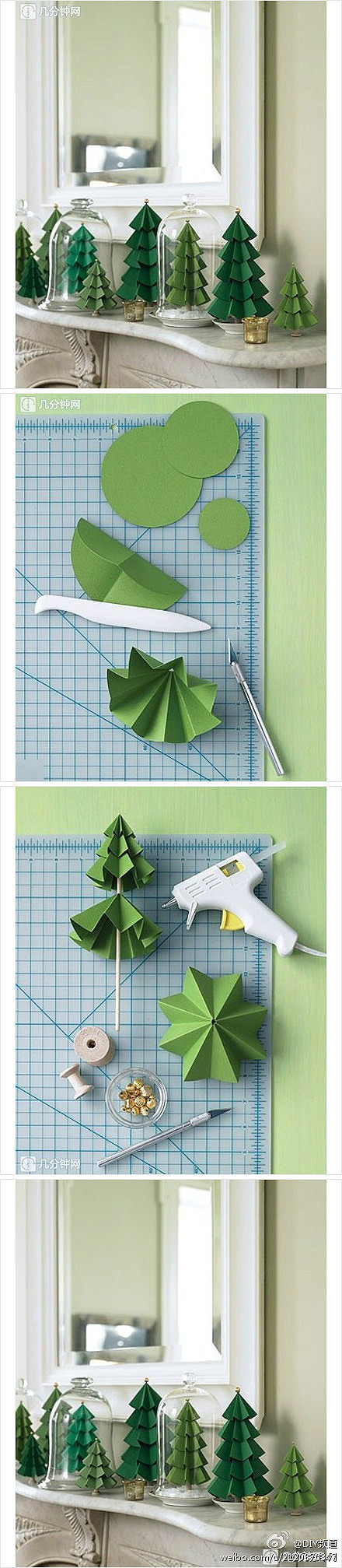 How to make paper craft Christmas trees step by step DIY tutorial instructions