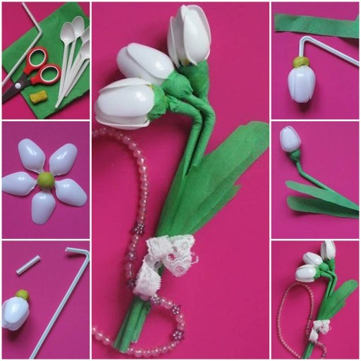 How to make pretty Flowers with used plastic spoons step by step DIY tutorial instructions thumb
