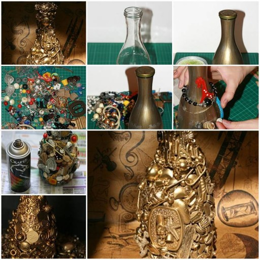 How to make pretty decorative jars and bottles with Unwanted junk DIY tutorial instructions thumb