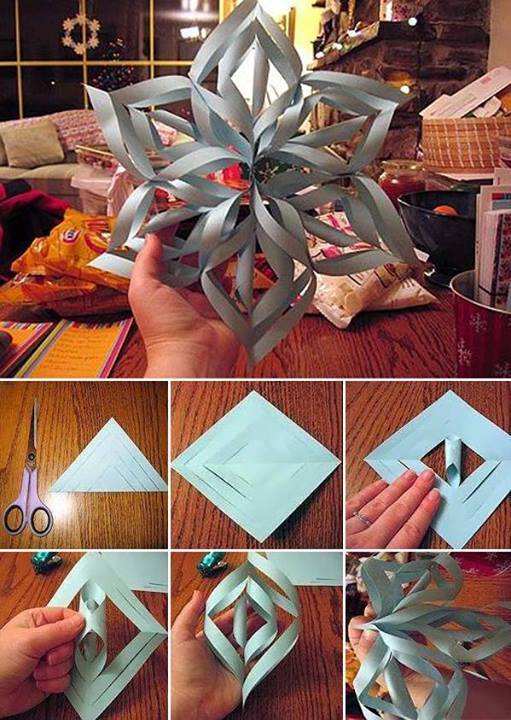 How to make pretty paper craft 3D snowflakes step by step DIY tutorial instructions