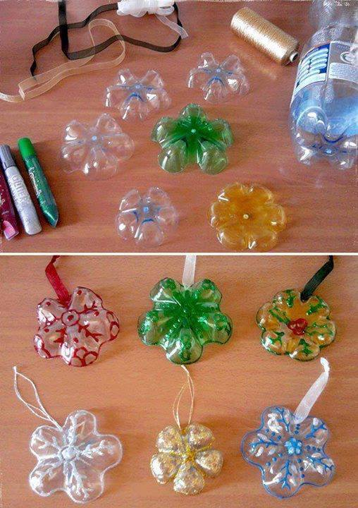 How to make pretty snowflake ornaments with used plastic bottles step by step DIY tutorial instructions