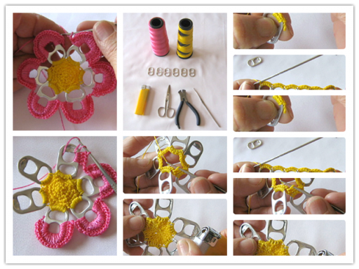 How to pretty flowers with recycle beer can pull tabs step by step DIY tutorial instructions