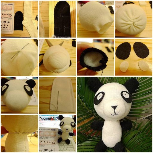 How to sew Panda Doll with socks DIY tutorial instructions thumb