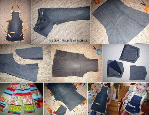 How to up-cycle used jeans into aprons step by step DIY tutorial instructions
