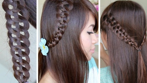 how to do a 4 strand braid hairstyle for medium long hair DIY tutorial step by step instructions
