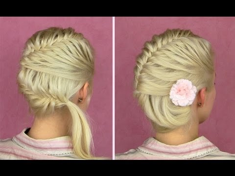how to do a french fishtail braid updo for medium long hair DIY tutorial step by step instructions