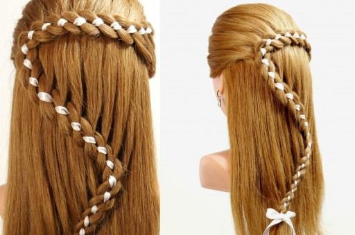 How to do beautiful 4 strand braid hair with ribbon DIY tutorial step by step instructions