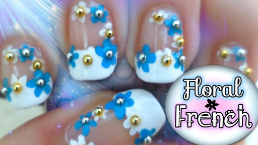 How to do floral French manicure nail art DIY tutorial step by step instructions