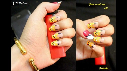 How to do Pikachu nail art manicure step by step DIY tutorial instructions