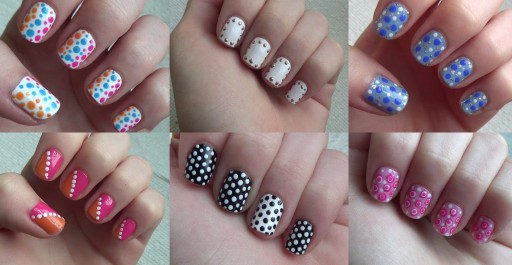 How to do six simple dot nail arts step by step DIY tutorial instructions