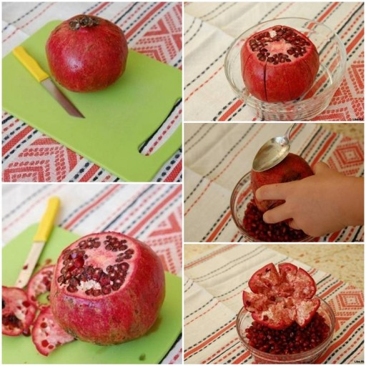 how to eat a pomegranate without making a mess step by step DIY tutorial instructions thumb