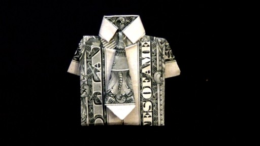 How to fold a dollar bill into a dollar origami shirt and tie DIY tutorial step by step instructions
