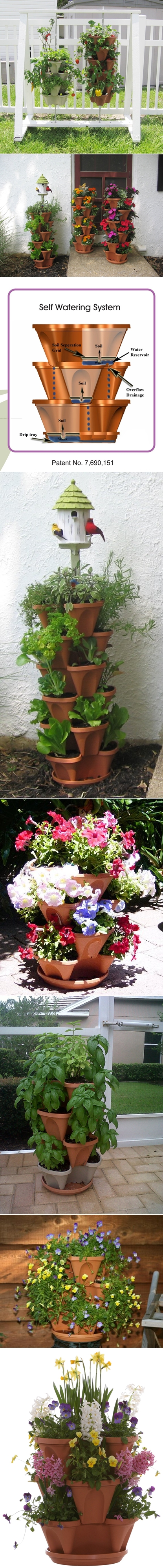 how to grow pretty flowers in vertical gardening pots with stack-a-pots DIY tutorial step by step instructions 2