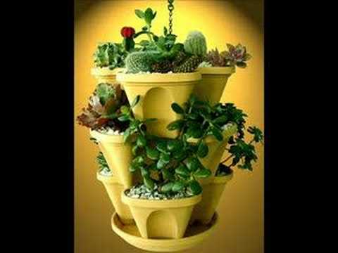 how to grow pretty flowers in vertical gardening pots with stack-a-pots DIY tutorial step by step instructions