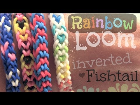 How to make a Rainbow Loom inverted fishtail bracelet step by step DIY tutorial instructions