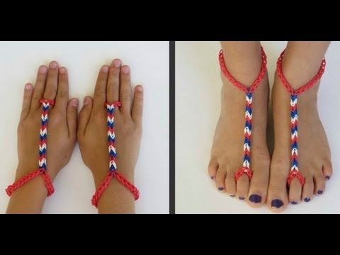 how to make advanced Rainbow Loom Barefoot Sandals DIY tutorial step by step instructions
