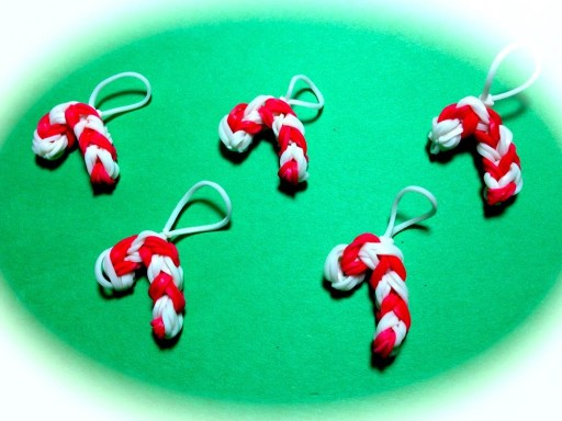 How to make Rainbow Loom Candy Cane Charm DIY tutorial step by step instructions