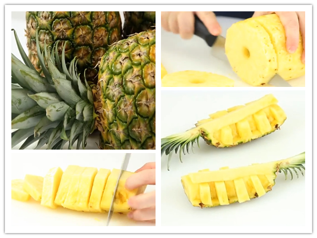 3 ways to peel and cut a pineapple step by step DIY tutorial instructions