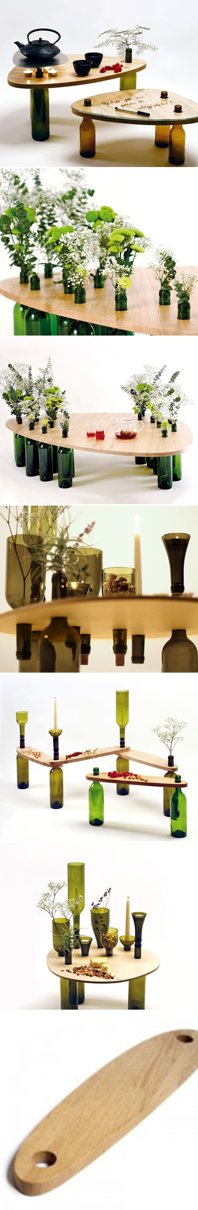 A great way to recycle wine bottles into picnic tables