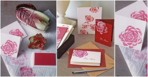 How To Make Rosy Valentine Cards With Cut Off Vegetable Stems