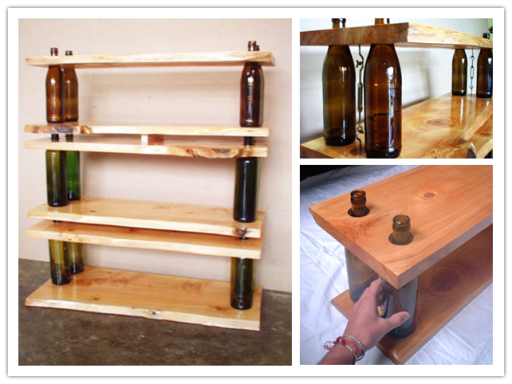 How to build green modular storage shelving and tables with glass bottles step by step DIY tutorial instructions