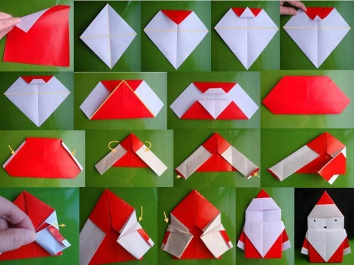 How to fold origami paper craft Santa step by step DIY tutorial instructions
