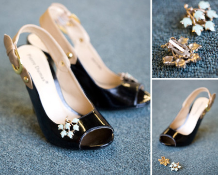 How to jazz up gorgeous shoes with vintage clip earrings step by step DIY tutorial instructions 1