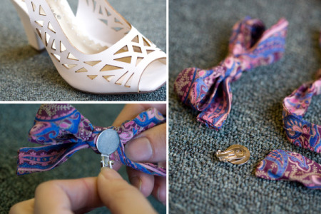 How to jazz up gorgeous shoes with vintage clip earrings step by step DIY tutorial instructions 4