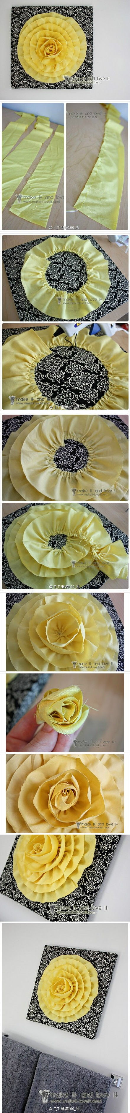 How to make 3D Cloth Flower Decoration step by step DIY tutorial instructions
