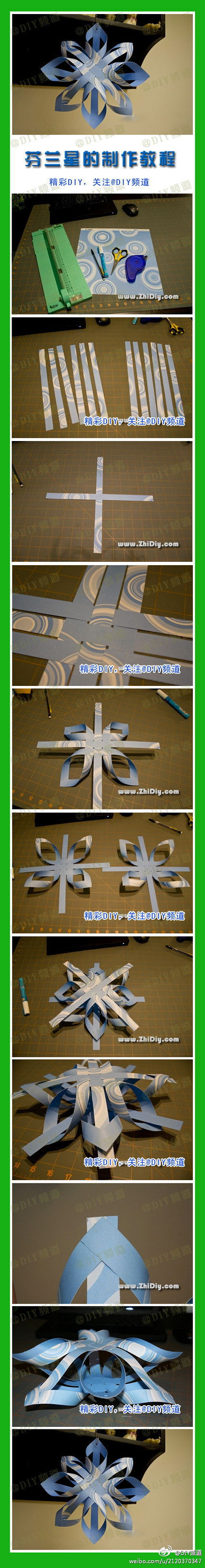 How to make 3D Paper Star step by step DIY tutorial instructions