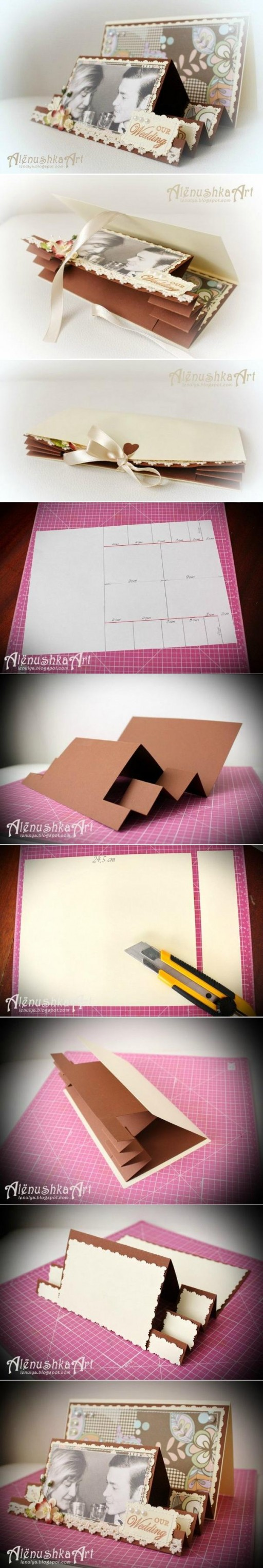 How to make 3D Wedding Card step by step DIY tutorial instructions