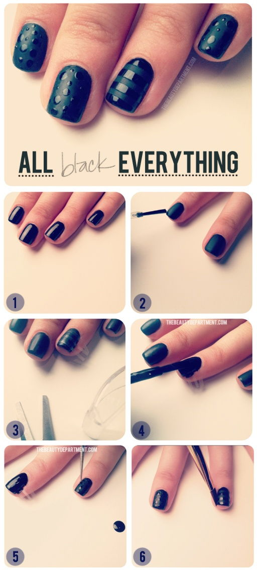 How to make All Black Everything Nail Art step by step DIY ...
