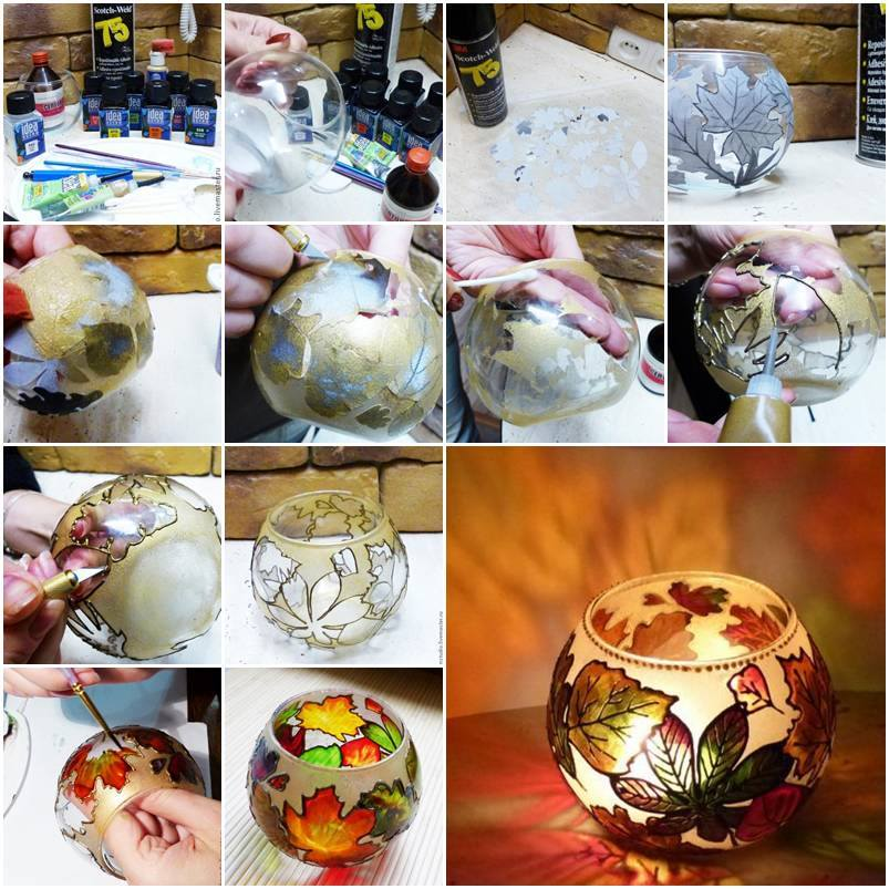 How To Make Autumn Gold Painted Candle Holder Step By Step