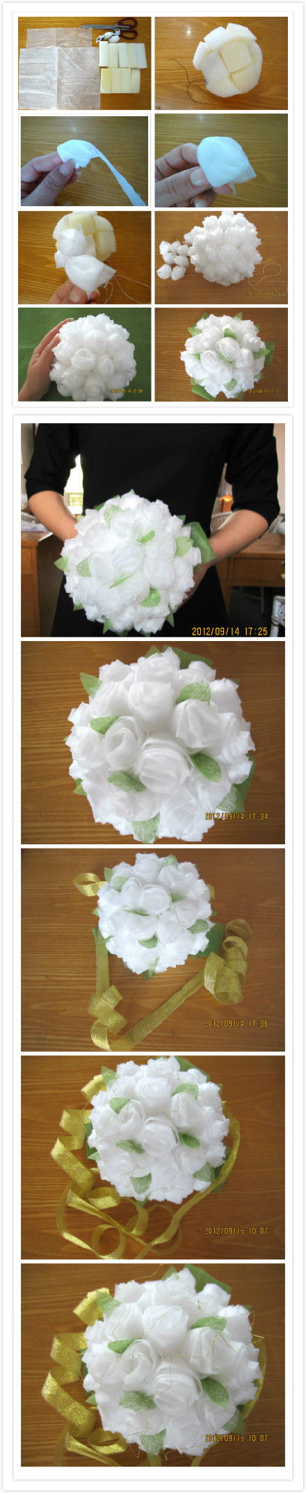 How to make Baby Tissue Paper Flower Bouquet step by step DIY tutorial instructions