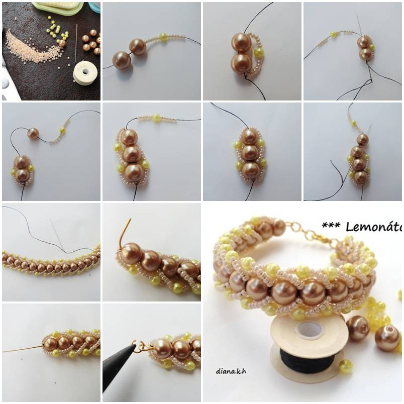 How To Make Beads And Pearls Bracelet Step By Step DIY